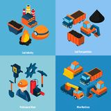 Coal Industry Isometric. Coal industry design concept set with transportation mine machines and professional miner isometric icons isolated vector illustration Stock Photography