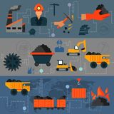 Coal industry line banners. Coal industry factory transportation line banners set isolated vector illustration Royalty Free Stock Photos