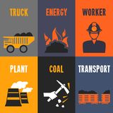 Coal industry mini posters Royalty Free Stock Images