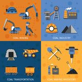 Coal Industry Set. Coal industry design concept set with mining transportation inventory flat icons vector illustration vector illustration