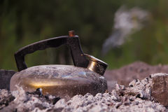 Coal kettle royalty free stock photography