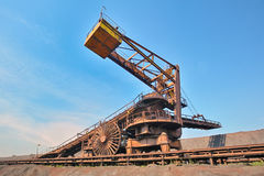 Coal loading conveyor belt piles coal Royalty Free Stock Photography