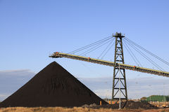 Coal Loading Machinery. Coal Loading Conveyor Belt and a Pile of Coal at a Coal Mine Stock Images