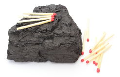 Coal lump with matches on white background Royalty Free Stock Photo