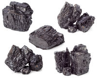 Coal. Lumps of charcoal on white background stock images