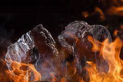 Coal lumps on dark background. Close-up Royalty Free Stock Photos