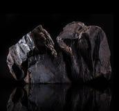 Coal lumps on dark background. Close-up Royalty Free Stock Image
