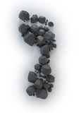 Coal lumps forming a footprint -. Carbon footrpint concept Royalty Free Stock Images
