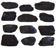 Coal lumps. Isolated on white background Stock Photography