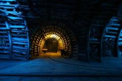 Coal mine. Corridor in the old coal mine royalty free stock photo