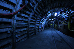 Coal mine. Corridor in the old coal mine stock photos