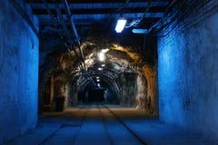 Coal mine. Corridor in the old coal mine stock photo