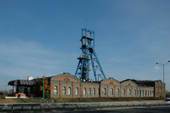 Coal mine. Tower on blue sky stock photo