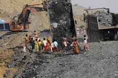 Coal Mine. BIRBHUM- JANUARY 19: People stealing coal in broad daylight from a local coal mine in Birbhum, India on January 19, 2011 Stock Image
