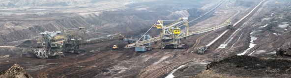 Coal  mine with bucket wheel excavator. Mining industry. panorama made of separate images Stock Images