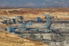 Coal Mine Excavation. Open pit mining of coal Royalty Free Stock Photos
