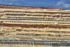 Coal Mine Excavation. Open pit mining of coal, soil layers Stock Photos