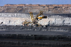 coal mine with excavator machine Royalty Free Stock Photo