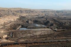 Coal mine with excavator machine Royalty Free Stock Image