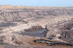 Coal mine with excavator machine Royalty Free Stock Images