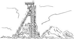 Coal mine headgear tower Stock Photography