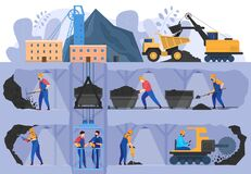 Free Coal Mine Industry, People Working In Underground Caverns, Vector Illustration Royalty Free Stock Images - 176541639