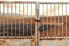 Coal mine with an iron gate Royalty Free Stock Photos