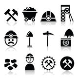 Coal mine, miner icons set Royalty Free Stock Photo