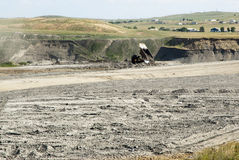 Coal Mine Reclamation. Backfilling and topsoil restoration at a coal mine in Wyoming Stock Photo