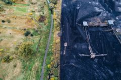 Coal mine in Silesia, Poland. Thin border between nature and industry Royalty Free Stock Image