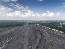Coal mine in south of Poland. Destroyed land. View from above. Stock Image