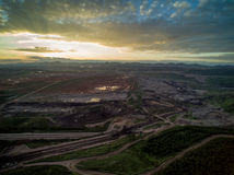 Coal Mine with Sunset. Aerial View Stock Photo