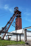Coal mine tower on blue sky Royalty Free Stock Photo