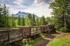 Coal mine train in the ghost town of Bankhead near Banff, Canada Royalty Free Stock Photography