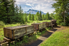 Coal mine train in the ghost town of Bankhead near Banff, Canada Stock Image