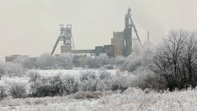 Coal mine in winter, Donbass. Donetsk region, Ukraine. stock video