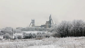 Coal mine in winter, Donbass. Donetsk region, Ukraine stock video footage