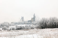 Coal mine in winter, Donbass. Donetsk region, Ukraine Royalty Free Stock Images