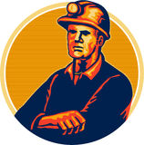 Coal Miner Arms Folded Retro Royalty Free Stock Image