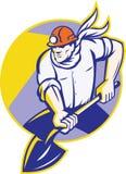 Coal Miner Hardhat Digging Shovel Retro. Illustration of a coal miner digger with spade shovel digging set inside circle done in retro style Royalty Free Stock Image