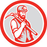 Coal Miner Hardhat Holding Pick Axe Circle Woodcut Stock Images