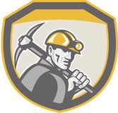 Coal Miner Hardhat Holding Pick Axe Shield Retro Royalty Free Stock Images