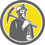 Coal Miner Hardhat With Pick Axe Lamp Front Circle Stock Images
