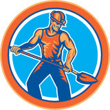 Coal Miner Hardhat Shovel Circle Retro Stock Images