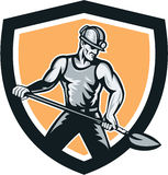 Coal Miner Hardhat Shovel Shield Retro Royalty Free Stock Photography