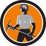 Coal Miner Holding Pick Axe Side Circle Retro Stock Photography