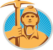 Coal Miner With Pick Ax Hardhat Front Retro Stock Image
