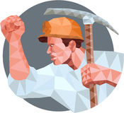 Coal Miner Pick Axe Pumping Fist Low Polygon Royalty Free Stock Photography
