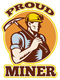 Coal miner pick axe retro stock illustration