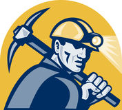 Coal Miner With Pick Axe Retro Woodcut Royalty Free Stock Image